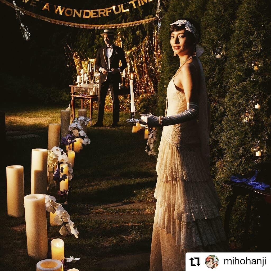 ナイトウェイティング!#Repost @mihohanji• • • • • •グレートギャツビーをテーマにしたとき。ナイトウェデイングにしてみた。20′s好き。#キャンドル#ナイトウエディング#グレードギャツビー#wedding#判治ミホ#スタイリング#スタイリスト#ウエディング#会場装飾